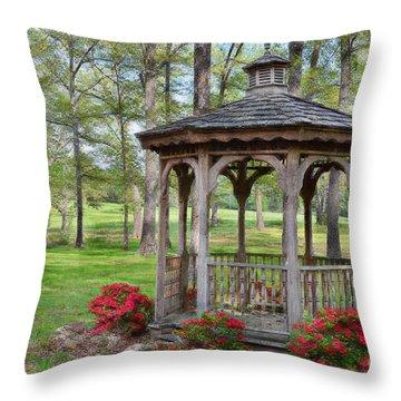 Spring Gazebo Pastel Effect Throw Pillow by Debbie Portwood