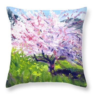 Spring Glory Throw Pillow by Karin  Leonard