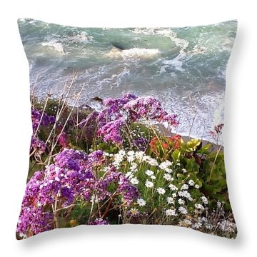 Throw Pillow featuring the photograph Spring Greets Waves by Susan Garren