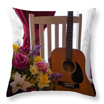 Spring Guitar Throw Pillow