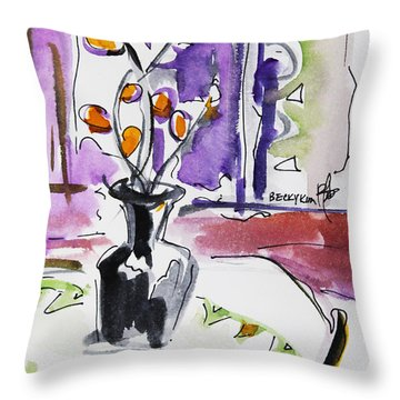 Throw Pillow featuring the painting Spring Has Arrived by Becky Kim