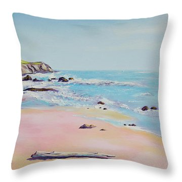 Spring Hills And Seashore At Bowling Ball Beach Throw Pillow