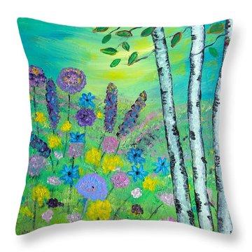 Spring Hillside Throw Pillow