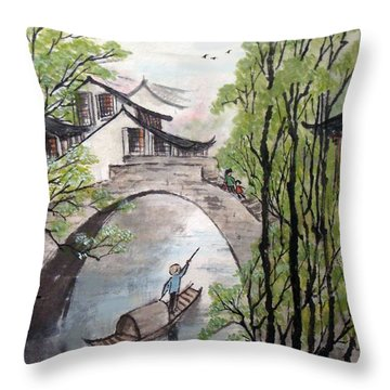 Spring In Ancient Watertown Throw Pillow by Yufeng Wang