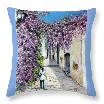 Throw Pillow featuring the painting Spring In Andalucia by Rosemary Colyer