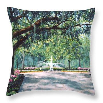 Spring In Forsythe Park Throw Pillow