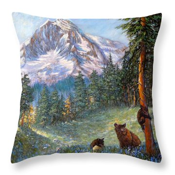 Throw Pillow featuring the painting Spring In The Cascades by Charles Munn