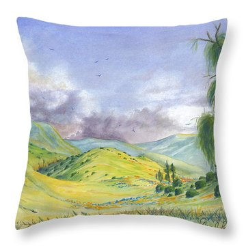 Throw Pillow featuring the painting Spring In The Corona Hills by Dan Redmon