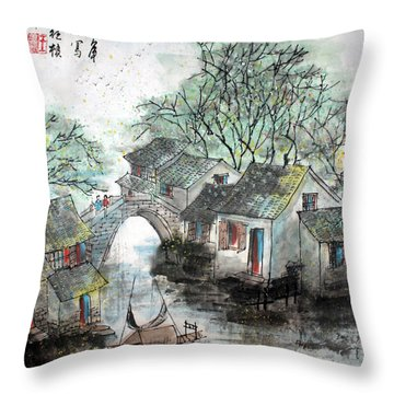 Spring In Watertown Throw Pillow by Yufeng Wang