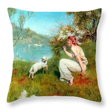 Spring Throw Pillow by John Collier