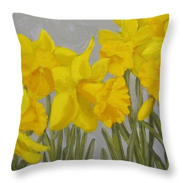 Throw Pillow featuring the painting Spring by Karen Ilari