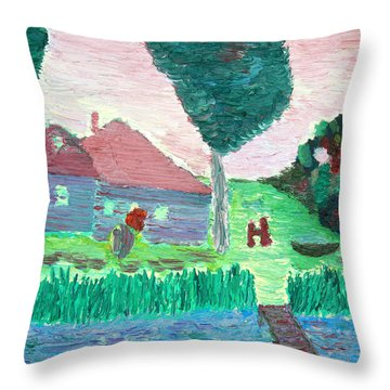 Spring Landscape Throw Pillow