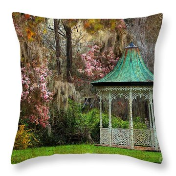 Throw Pillow featuring the photograph Spring Magnolia Garden At Magnolia Plantation by Kathy Baccari