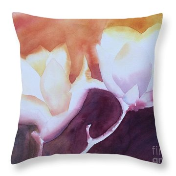 Spring Magnolias Throw Pillow by Barbara Tibbets