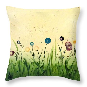 Throw Pillow featuring the painting Spring Medley by Mary Kay Holladay