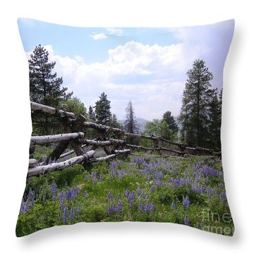 Spring Mountain Lupines 2 Throw Pillow by Crystal Miller