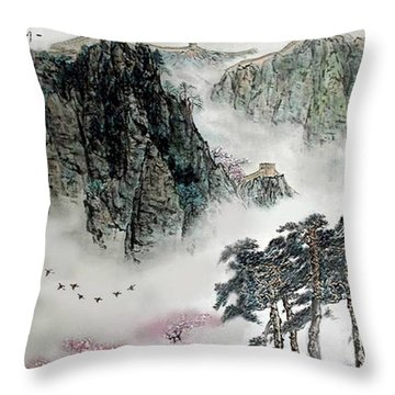Spring Mountains And The Great Wall Throw Pillow by Yufeng Wang