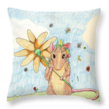 Spring Mouse Throw Pillow