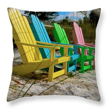 Throw Pillow featuring the photograph Spring On An Adirondack by Jean Marie Maggi