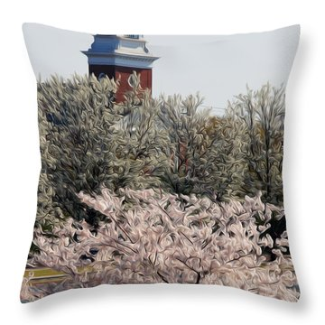Throw Pillow featuring the digital art Spring On Fountain Lake by Kelvin Booker