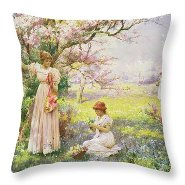 Spring   Picking Flowers Throw Pillow by Alfred Augustus I Glendenning