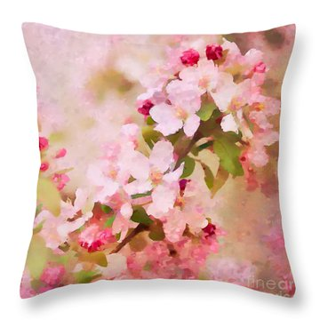 Spring Pink Throw Pillow by Betty LaRue