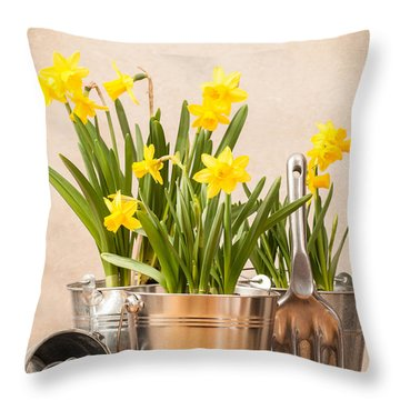 Spring Planting Throw Pillow by Amanda Elwell