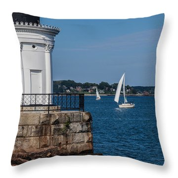 Portland Breakwater Light  Throw Pillow by David Cote