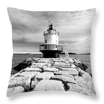 Spring Point Ledge Light In Black And White Throw Pillow