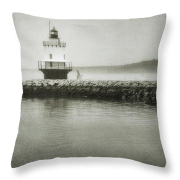 Spring Point Ledge Light Throw Pillow by Joan Carroll