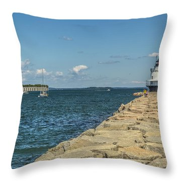 Throw Pillow featuring the photograph Spring Point Ledge Lighthouse by Jane Luxton