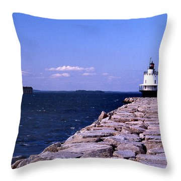 Spring Point Ledge Lighthouse Throw Pillow by Skip Willits