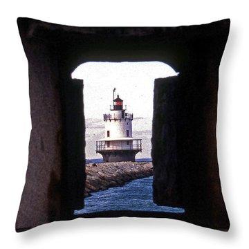 Spring Point Ledge Lightouse Throw Pillow by Skip Willits