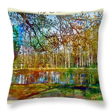 Spring Pond Photoart Father's Day Throw Pillow by Debbie Portwood