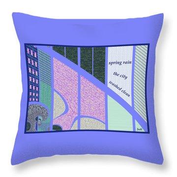 Throw Pillow featuring the digital art Spring Rain Haiga by Judi Suni Hall