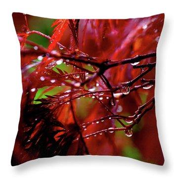 Spring Rain Throw Pillow by Rona Black