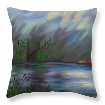 Spring Reed In The Canyon Throw Pillow by Angela A Stanton