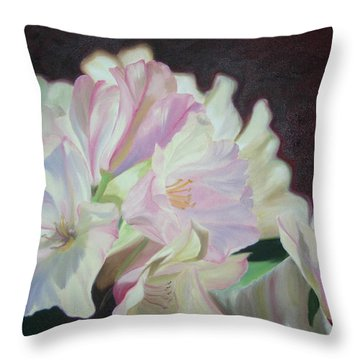 Throw Pillow featuring the painting Spring Rhodys by Nancy Jolley
