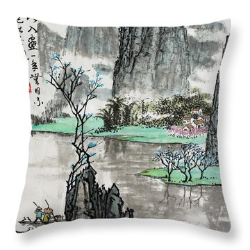 Spring River II Throw Pillow