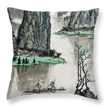 Spring River Throw Pillow by Yufeng Wang