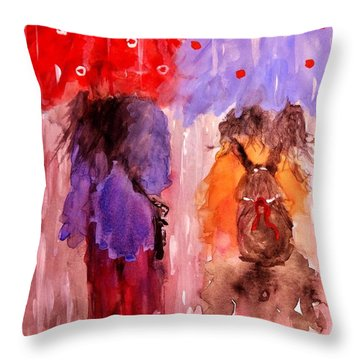 Throw Pillow featuring the painting Spring Showers.. by Cristina Mihailescu