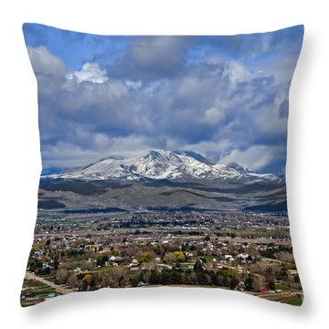 Spring Snow On Squaw Butte Throw Pillow