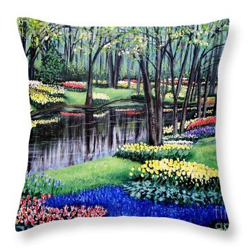 Throw Pillow featuring the painting Spring Spendor Tulip Garden by Patricia L Davidson