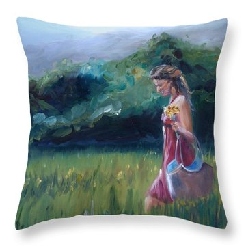 Throw Pillow featuring the painting Spring Stroll by Donna Tuten