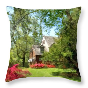 Spring - Suburban House With Azaleas Throw Pillow by Susan Savad
