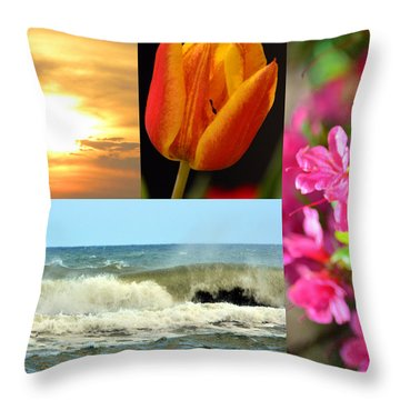 Spring Summer Collage Throw Pillow by Sandi OReilly