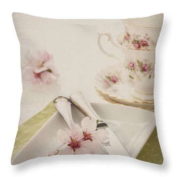 Spring Table Setting Throw Pillow by Amanda Elwell