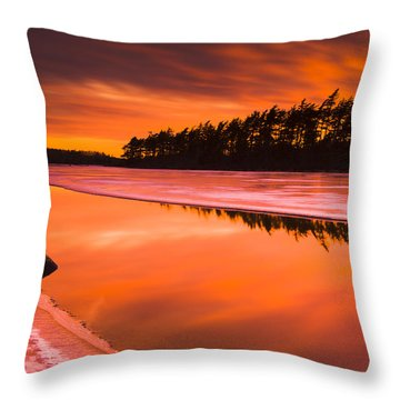 Spring Thaw Sunset, Rocky Lake, Nova Throw Pillow by Irwin Barrett