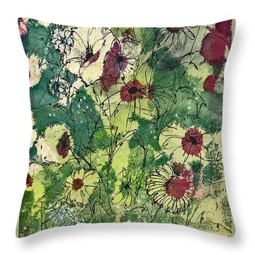 Throw Pillow featuring the painting Spring Tracery by Joan Hartenstein