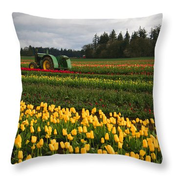 Spring Tulip Fields Throw Pillow
